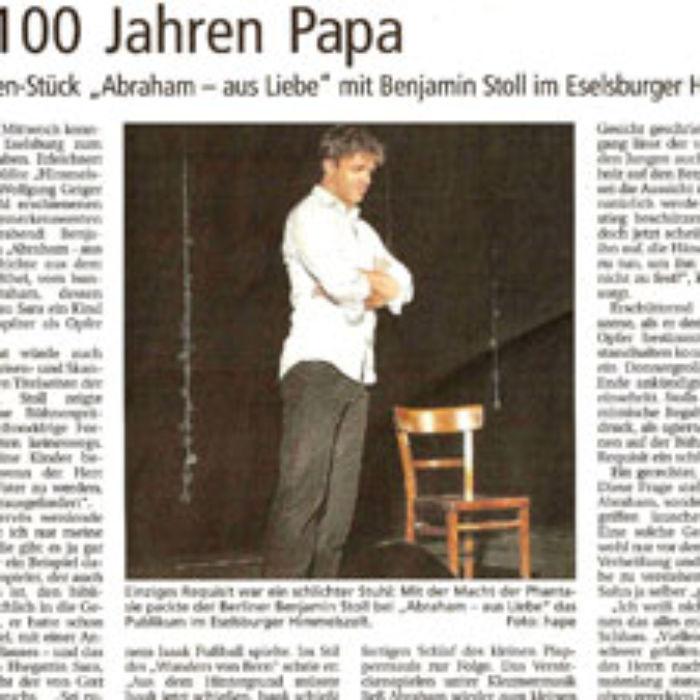 Zeitungsbericht über Benjamin Stoll beim Auftritt »Abraham aus Liebe« in Eselsburg