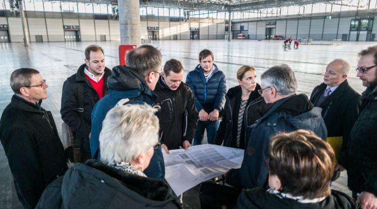 Eindrücke der Besichtigung der Messehalle 1 in Leipzig fürs Pop-Oratorium 2018