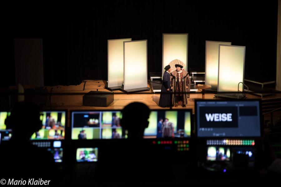 """Aufführung von """"Höllenfeuer – Luther der Rebell"""" mit Benjamin Stoll als Martin Luther Joachim Meyer als Kurfürst Friedrich und Dannie Lennertz als Georg Spalatin"""