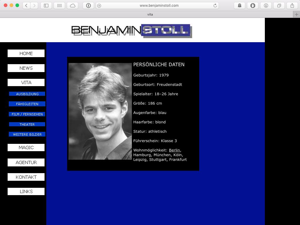 Screenshot der Webseite von 2003