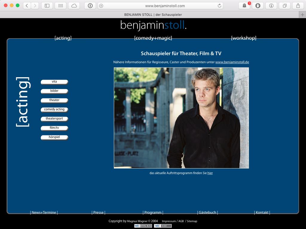 Screenshot der Webseite von 2005