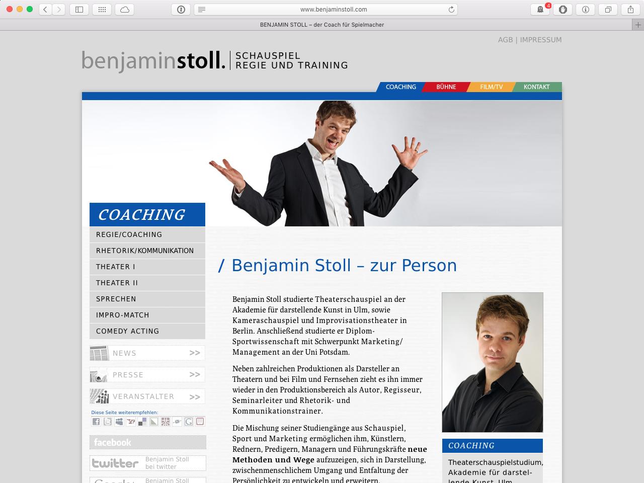 Screenshot der Webseite von 2009
