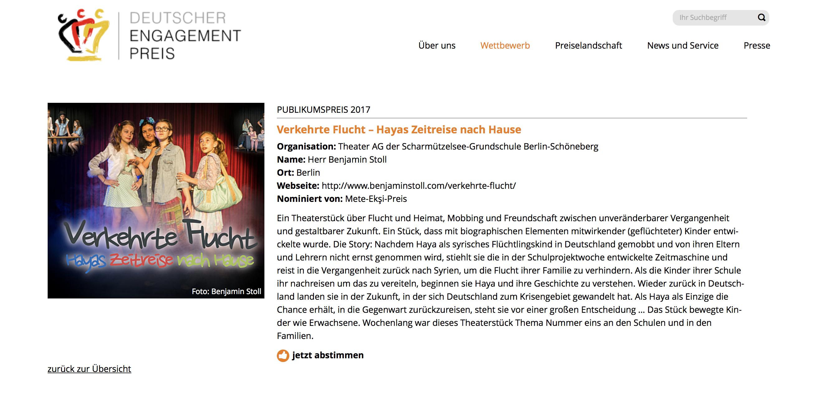 """Publikumspreis des Deutschen Engagementpreises 2017 für """"Verkehrte Flucht"""""""
