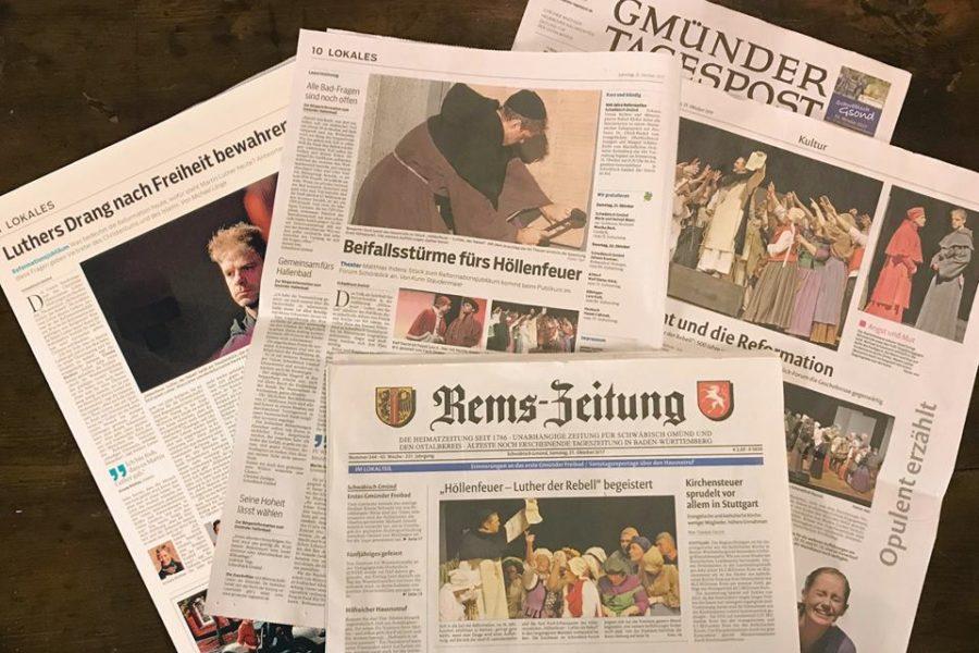 """Presseartikel und Zeitungsberichte vom Schauspiel/Theaterstück """"Höllenfeuer – Luther der Rebell"""" mit Benjamin Stoll als Martin Luther"""