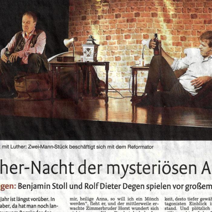 Bericht über »Eine Nacht mit Luther« in Mötzingen