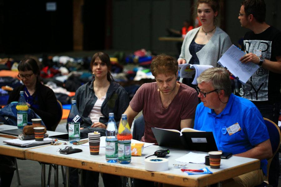 Proben für das Pop-Oratorium ICH BIN in Leipzig mit Regisseur und Schauspieler Benjamin Stoll, Eva Butzkies, Clarissa Börner, Birthe Tietken und Thorsten Koy