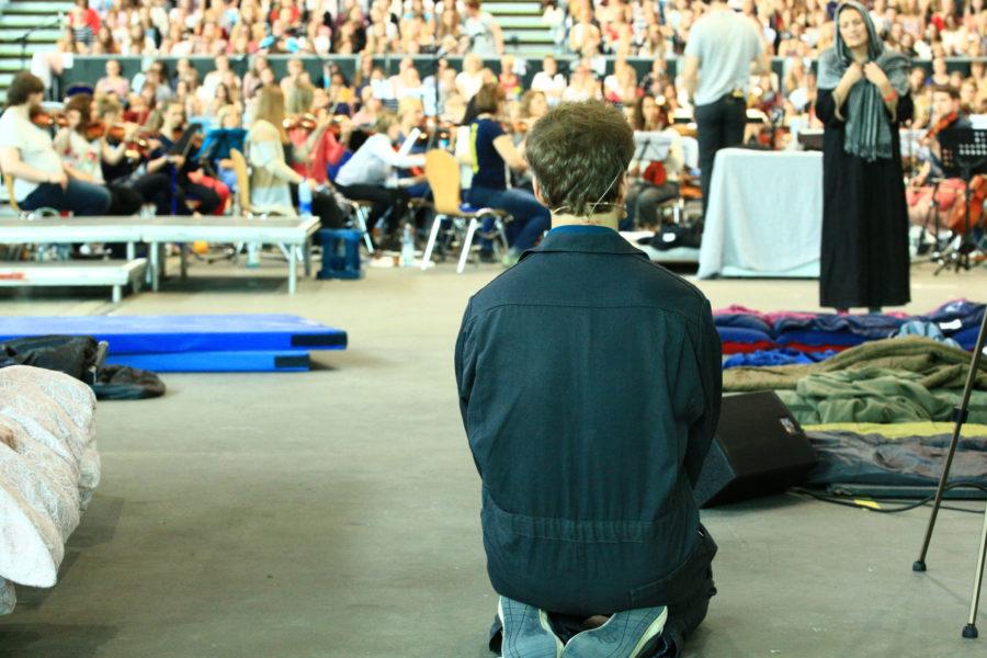 Proben für das Pop-Oratorium ICH BIN in Leipzig mit Regisseur und Schauspieler Benjamin Stoll und Carol Charlot