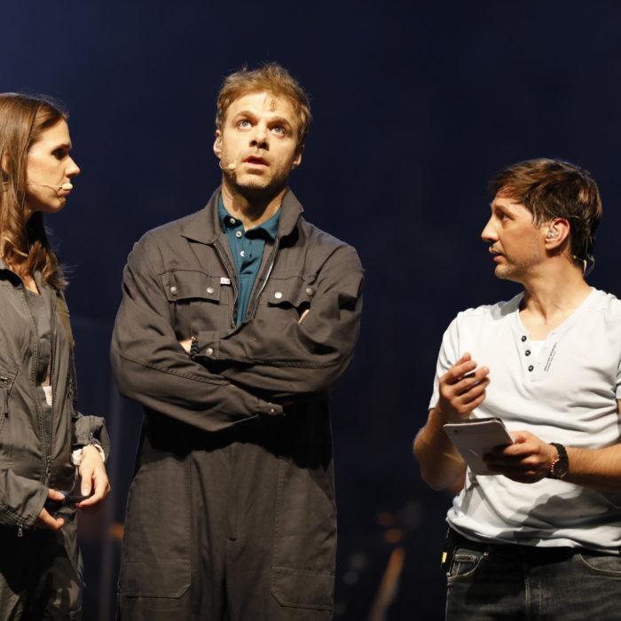 Aufführung des Pop-Oratoriums ICH BIN in Leipzig mit Regisseur und Schauspieler Benjamin Stoll, Dannie Lennertz und Clarissa Börner